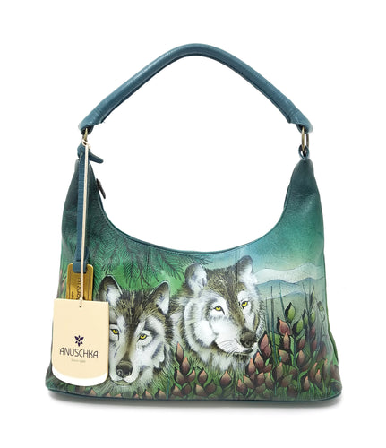 Anuschka Hand-painted Leather Western Wolves Top Zip Hobo bag