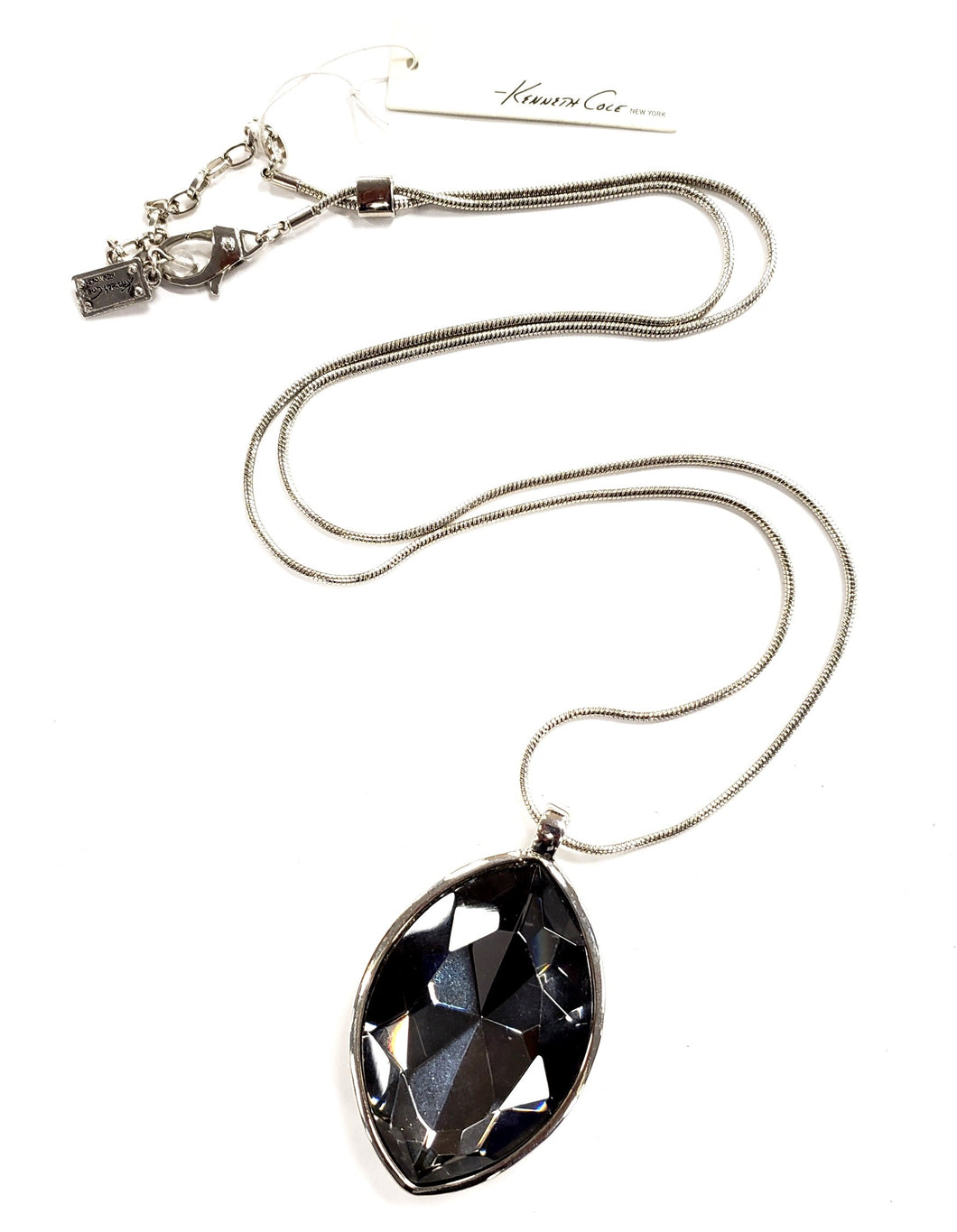 Kenneth Cole Long Crystal Teardrop Statement Pendant