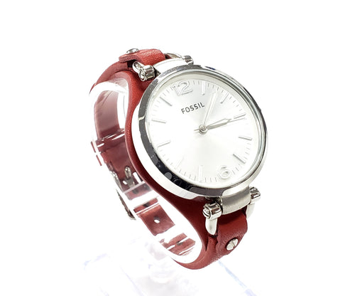 Fossil Georgia Three Hand Red Leather Watch