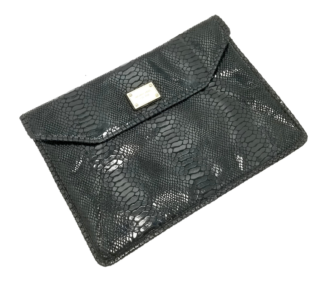 Michael Kors Large Snake Skin Leather Envelope Clutch
