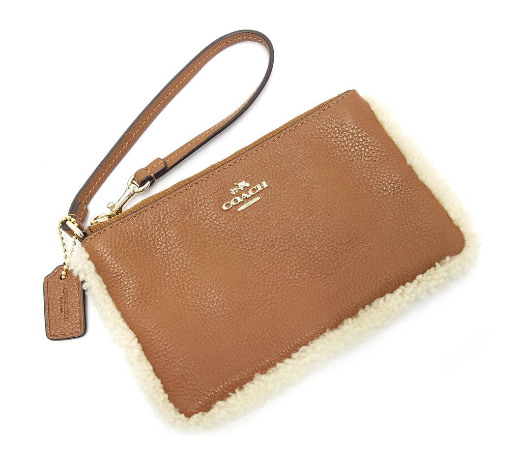 Coach Small Wristlet in Leather & Shearling