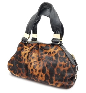 Antonio Melani Calf Hair Leopard Print Shoulder Bag