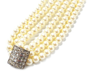 Carolee 3 Row Pearl Choker Necklace