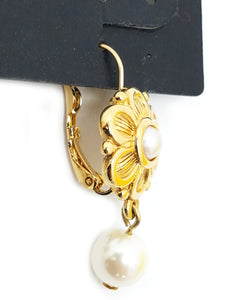 Chico's Flower & Faux Pearl Drop Earrings