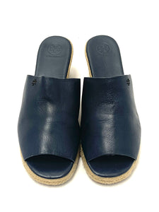 Tory Burch Blue 'Landon' Leather Mule Wedges