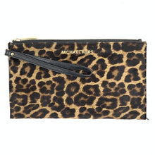 Michael Kors Leopard Print Calf Hair Top Zip Wristlet