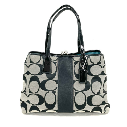 Coach Kisslock Signature Stripe Satchel
