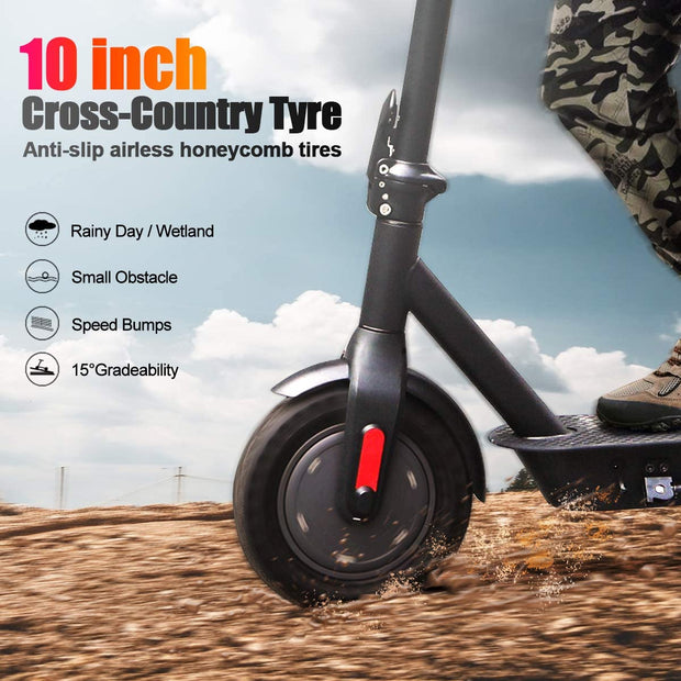 Phaewo Electric Scooter X10, 8.5 Inches Solid Tires Foldable Adult Scooter, Two Speed Stunt Scooter with ABS Disc Brake, Max Speed 15.6 mph (25 kmph) and Endurance 25 km