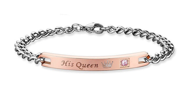 Couple Bracelets -  Her King His Queen