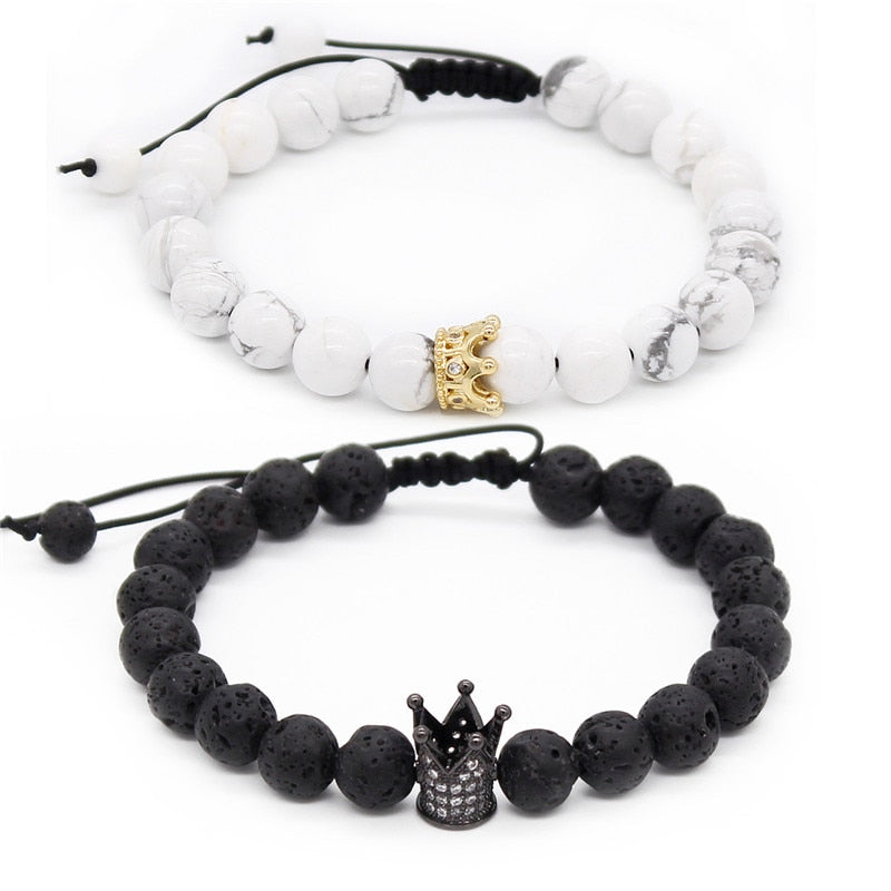His And Hers Bracelets - Black Matte & White Beads Crown King