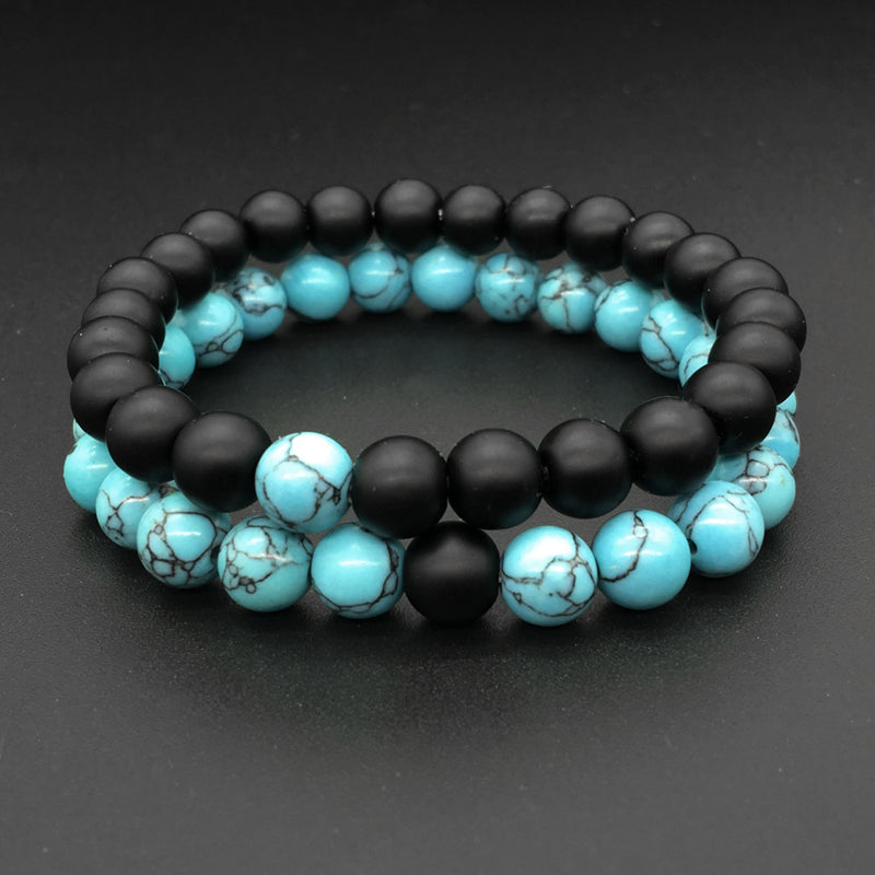 Couple Distance Bracelet - 2pcs Blue Color