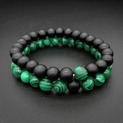 Couple Bracelets - 2 Pcs Green Black Natural Stone