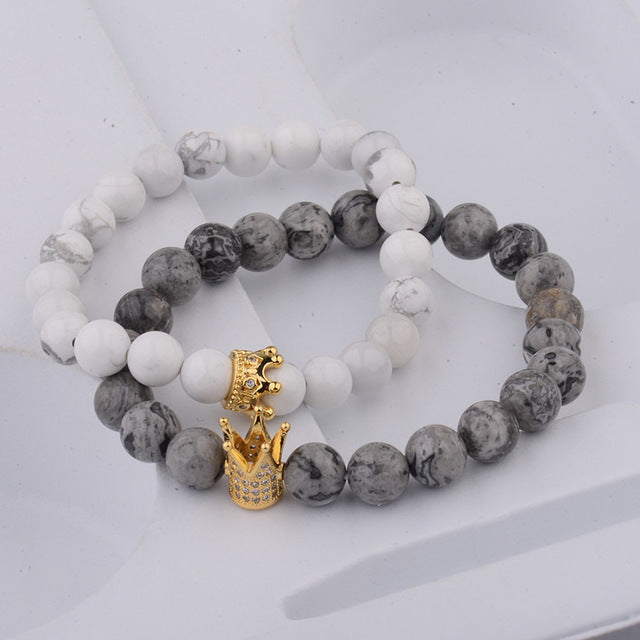 Couple Bracelets - Black Matte & White King Crown
