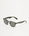 Article One Cass green acetate rectangular sunglasses 3/4 view
