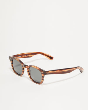 Article One Cass brown acetate rectangular sunglasses 3/4 view