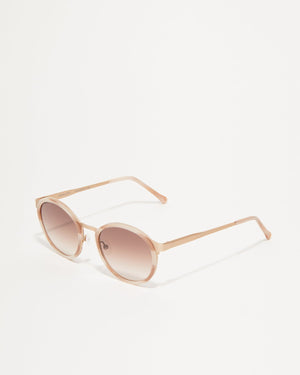 Article One Reid ivory rose gold metal and acetate round sunglasses