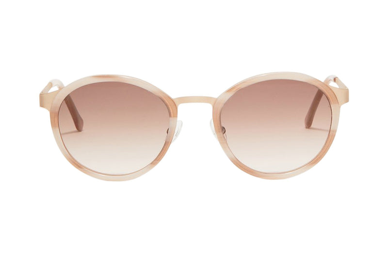 Article One Reid ivory rose gold metal and acetate round sunglasses front