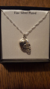 "18"" silver plated necklace chain with a football pendant."