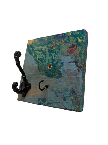 "Aqua Lagoon - Hydro Dipped Wall Mounted Hook Rack - 1 Black Coat Hook and 1 Key Hook - 5.5"" x 5.5"" x 0.75"""