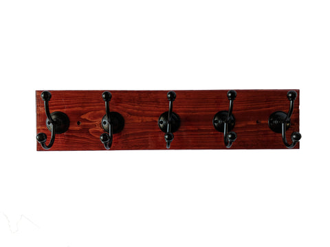 "Pine Wall Mounted Hook Rack in Cabernet - 5 Black Hooks - 24"" x 5.5"""