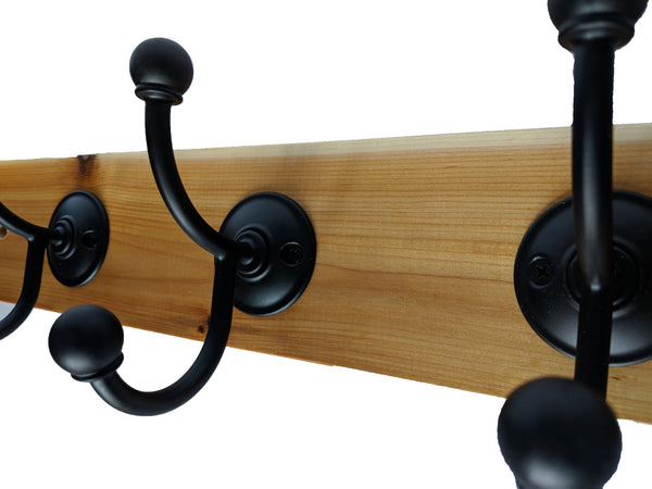 "Cedar Wall Mounted Hook Rack - 5 Black Hooks - 24"" x 3.5"""