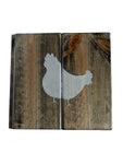"Trivet or Wall Art with Chicken in Slate Gray  10"" x 9.5"""