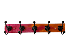 "Citrus Twist - Resin Wall Mounted Hook Rack - 5 Black Hooks - 24"" x.3.5"""