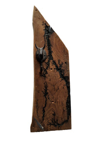 "Electrocuted Reclaimed Wood with Rustic Bull Hook and Rusty Nail - 23"" x 8"""