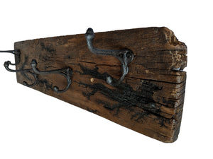 Electrocuted Reclaimed Wood Wall Mounted Hook Rack - 4 Antique Hooks - 22 x 5.5