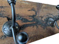"Electrocuted Reclaimed Wood Wall Mounted Hook Rack - 2 Black Coat Hooks and 2 Key Hooks -31"" x 7"""