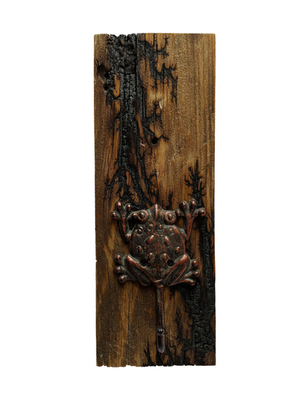 "Electrocuted Reclaimed Wood  with Frog Hook - 15"" x 5.5"""