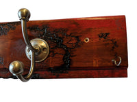 "Electrocuted Ruby Red Carsiding Wall Mounted Hook Rack -  2 Silver Coat Hooks and 2 Key Hooks -  22.5"" x 5"""