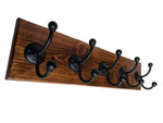 "Coat Rack with Black Hooks 24"" x 5.5"" -Pine with Espresso Stain"