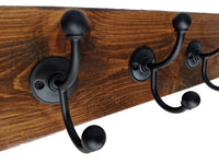 "Pine Wall Mounted Hook Rack in Espresso - 5 Black Hooks - 24"" x 5.5"""