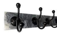 "Gray Granite - Resin Wall Mounted Hook Rack - 5 Black Hooks- 24"" x.3.5"""