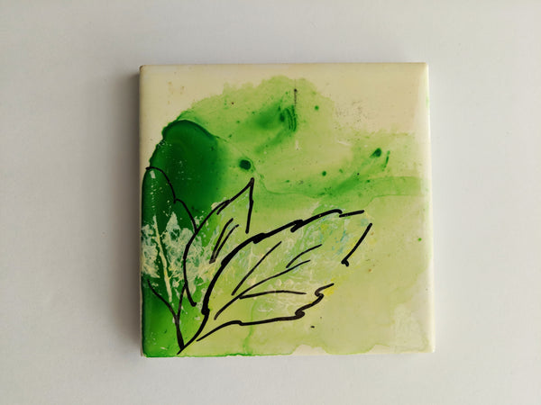 Green Leaf Drip Coasters- Set of 4