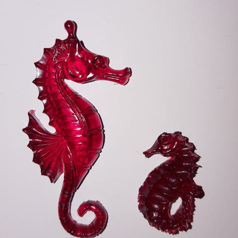 Radical Red Resin Sea Horses