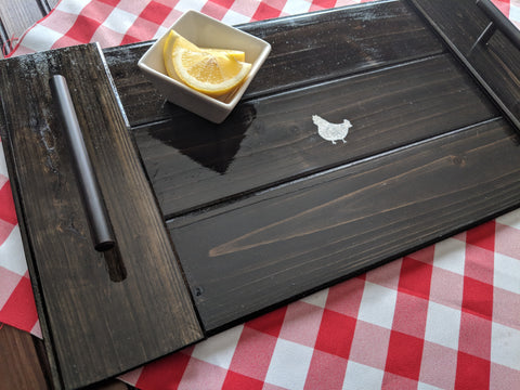 "Wooden Serving Tray in Ebony with Handles 20"" x 10.5"""