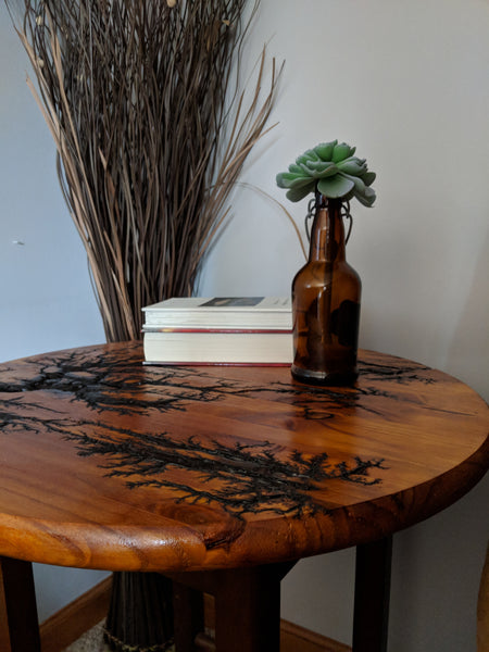 "Wooden Electrocuted Circle -15"" Table Top or Bar Stool Round -Stained and Finished"
