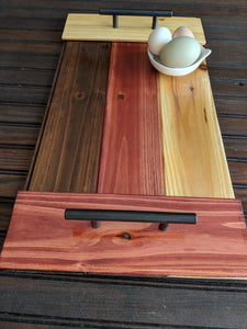 "Wooden Serving Tray in Neapolitan with Handles 20"" x 10.5"""