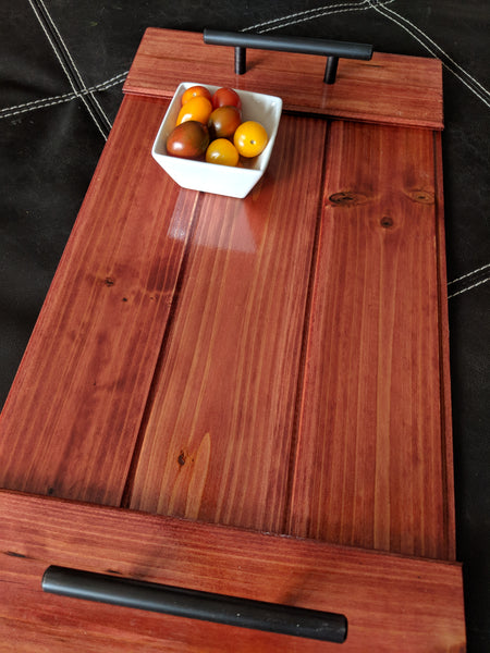 "Wooden Serving Tray with Handles in various colors 20"" x 10.5"""