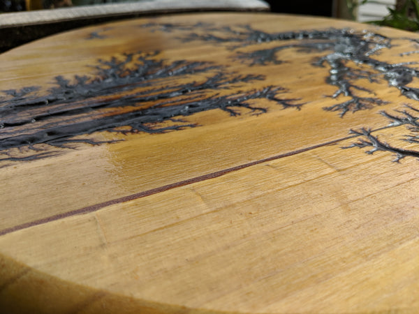 "Wooden Lichtenberg Fractal Burning Electrocuted Circle -15"" Table Top or Bar Stool Round -Stained and Finished"