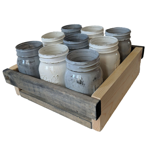 "Wooden Mason Jar Serving Tray - 9 Jars Holders 12x11x3.5"" - Pine Striped Rabbit Color Scheme"