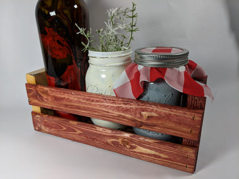 Mini Crate Centerpiece -Neapolitan- with Hydrodipped Wine Bottle, 2 Mason Jars and Floral - 14x11x4""