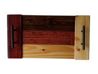 "Wooden Serving Tray with Handles 20x10.5"" - Pine with Neapolitan Color Scheme"