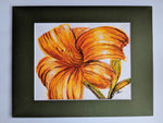 Golden Lily Wall Art- Matted Original - 11 x 14""