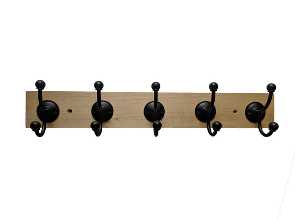 "Maple Wall Mounted Hook Rack - 5 Black Hooks - 24"" x 3.5"""