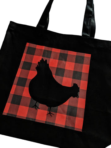 ChickenWares Black Tote Bag - Cotton Canvas - 14 x 13 x 3""