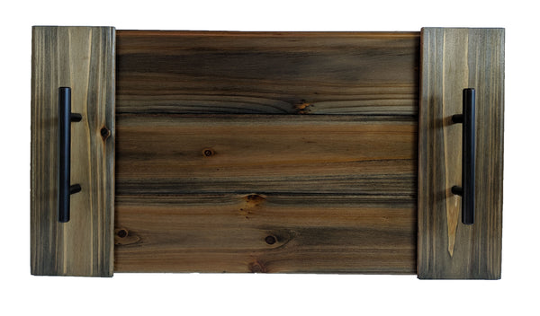 "Wooden Serving Tray in Slate Gray with Handles 20"" x 10.5"""