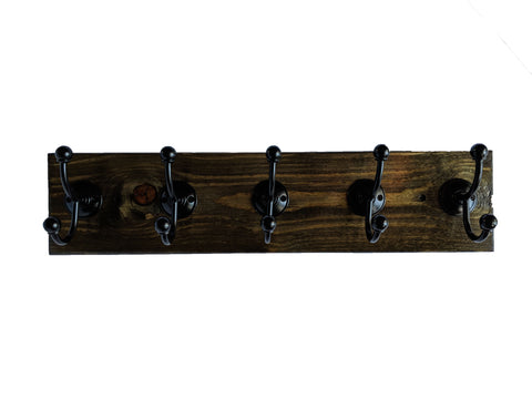 "Pine Wall Mounted Hook Rack in Slate - 5 Black Hooks - 24"" x 5.5"""